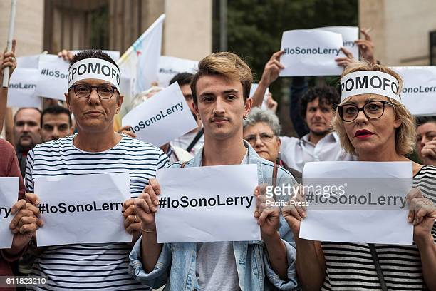 Imma Battaglia italian leftwing politician and LGBT activist Lerry the homosexual boy beaten near Piazzale Flaminio and Eva Grimaldi italian actress...