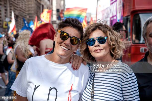 Imma Battaglia Leader of the LGBT movement with Eva Grimaldi actress during the demonstrating for civil rights against violence and homophobia during...