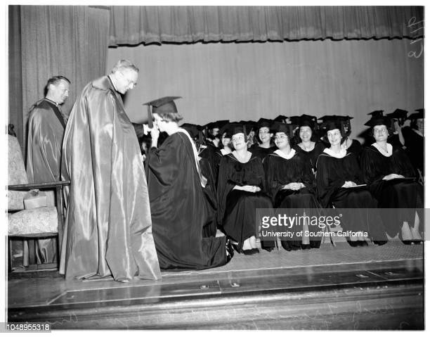Immaculate Heart College commencement June 10 1951 Archbishop Francis A McIntyreAnn McIntyreMonsoir Edward WadeArlene JamesMore descriptive...