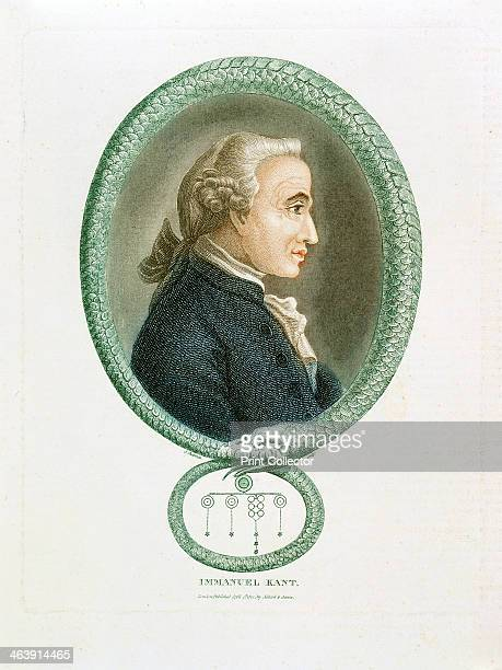 Immanuel Kant German philosopher 1812 Profile portrait surrounded by an Ouroboros an ancient EgyptianGreek symbolic serpent with its tail in its...
