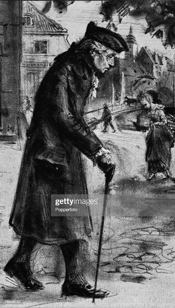 Immanuel Kant, German Philosopher, walking at Konigsberg. 1724-1804. (by Heinrich Wolff). : News Photo