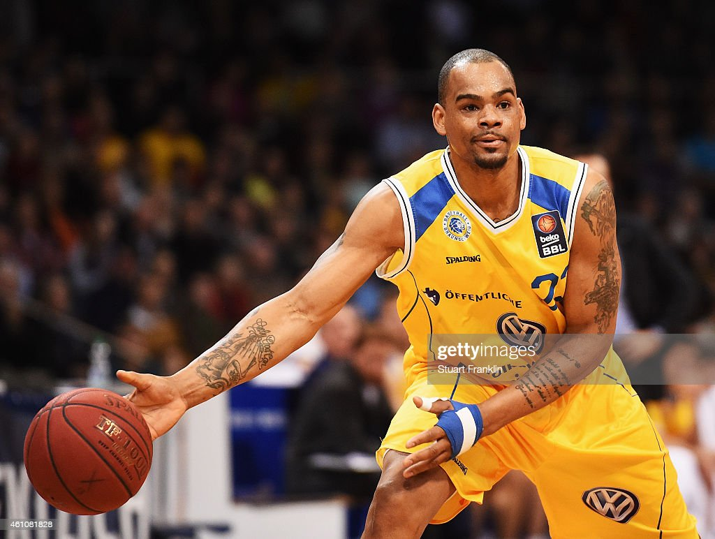 Immanuel McElroy of Braunschweig in action during the Bundesliga basketball game between Basketball Loewen Braunschweig and Artland Dragons on January 3, 2015 in Braunschweig, Germany.