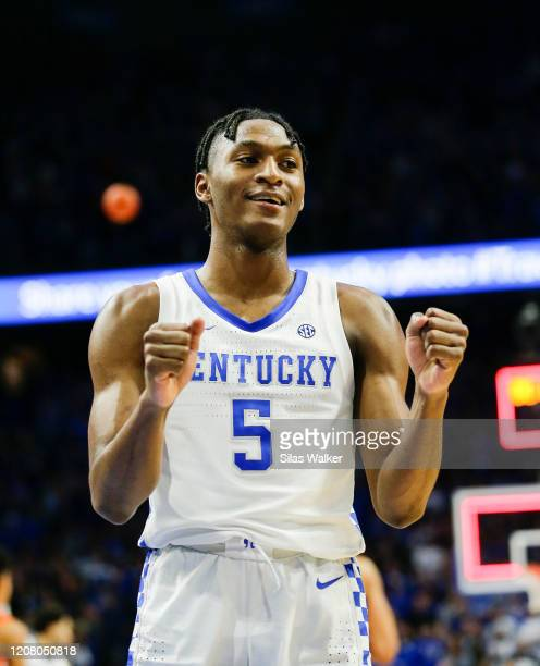 Immanuel Quickley of the Kentucky Wildcats celebrates after making the game winning free-throw against the Florida Gators at Rupp Arena on February...
