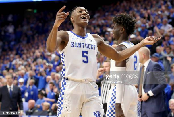 Immanuel Quickley of the Kentucky Wildcats celebrates in the final seconds of the 7667 win against the Alabama Crimson Tide at Rupp Arena on January...
