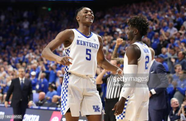 Immanuel Quickley of the Kentucky Wildcats celebrates in the final seconds of the 76-67 win against the Alabama Crimson Tide at Rupp Arena on January...