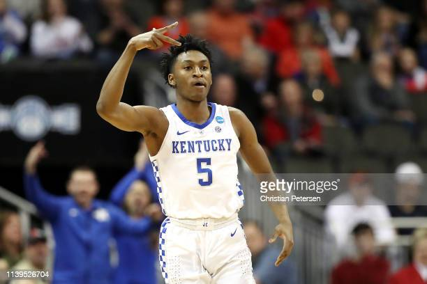 Immanuel Quickley of the Kentucky Wildcats reacts against the Auburn Tigers during the 2019 NCAA Basketball Tournament Midwest Regional at Sprint...