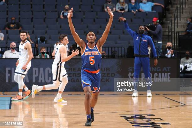 Immanuel Quickley of the New York Knicks celebrates a three point basket during the game against the Memphis Grizzlies on May 3, 2021 at FedExForum...