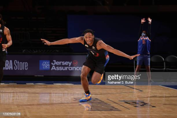 Immanuel Quickley of the New York Knicks celebrates during the game against the Toronto Raptors on April 24, 2021 at Madison Square Garden in New...