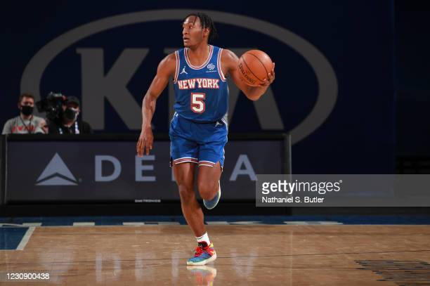 Immanuel Quickley of the New York Knicks dribbles during the game against the LA Clippers on January 31, 2021 at Madison Square Garden in New York...