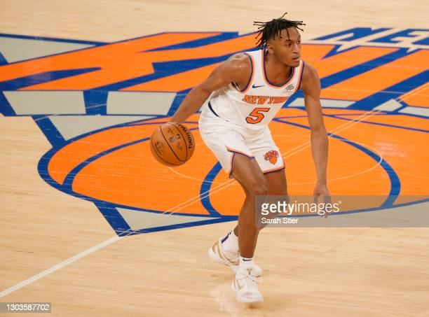 Immanuel Quickley of the New York Knicks dribbles during the second half against the Minnesota Timberwolves at Madison Square Garden on February 21,...