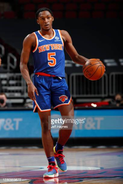 Immanuel Quickley of the New York Knicks dribbles the ball during the game against the Chicago Bulls on February 3, 2021 at United Center in Chicago,...