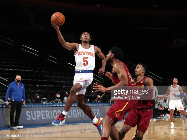 Immanuel Quickley of the New York Knicks drives to the basket against the Cleveland Cavaliers on December 16, 2020 at Madison Square Garden in New...