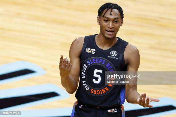 Immanuel Quickley of the New York Knicks in action against the Miami Heat during the first quarter at American Airlines Arena on February 09, 2021 in...