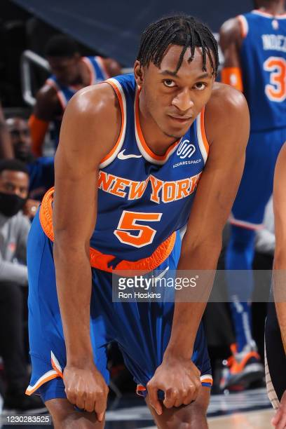 Immanuel Quickley of the New York Knicks looks on during the game against the Indiana Pacers on December 23, 2020 at Bankers Life Fieldhouse in...