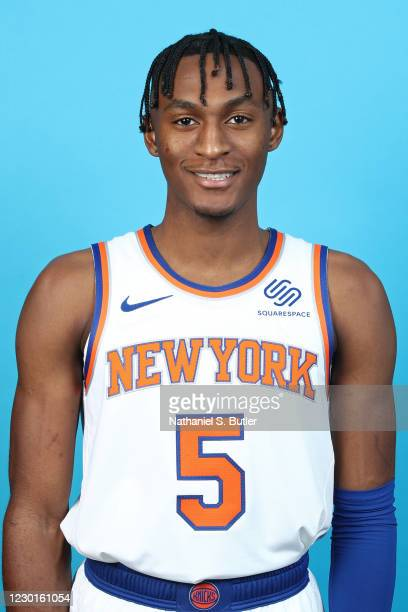Immanuel Quickley of the New York Knicks poses for a head shot during NBA content day on December 14, 2020 at Madison Square Garden in New York, New...