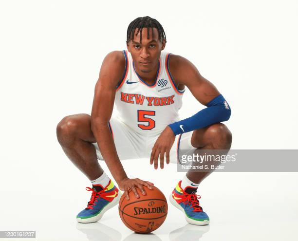 Immanuel Quickley of the New York Knicks poses for a portrait during NBA content day on December 14, 2020 at Madison Square Garden in New York, New...