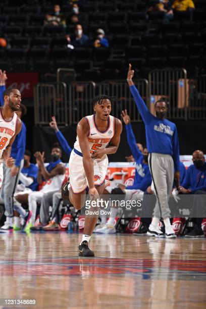 Immanuel Quickley of the New York Knicks reacts during a game against the Golden State Warriors on February 23, 2021 at Madison Square Garden in New...