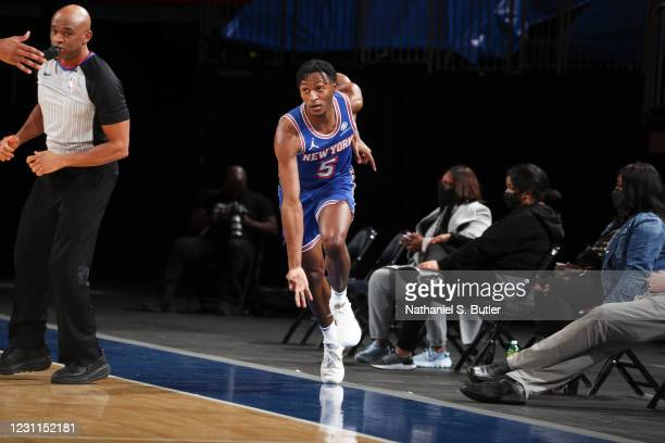 Immanuel Quickley of the New York Knicks reacts to a play during the game against the Houston Rockets on February 13, 2021 at Madison Square Garden...