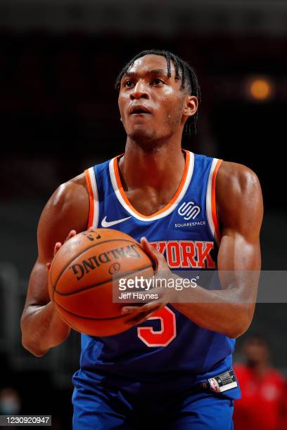 Immanuel Quickley of the New York Knicks shoots a foul shot against the Chicago Bulls on February 1, 2021 at United Center in Chicago, Illinois. NOTE...