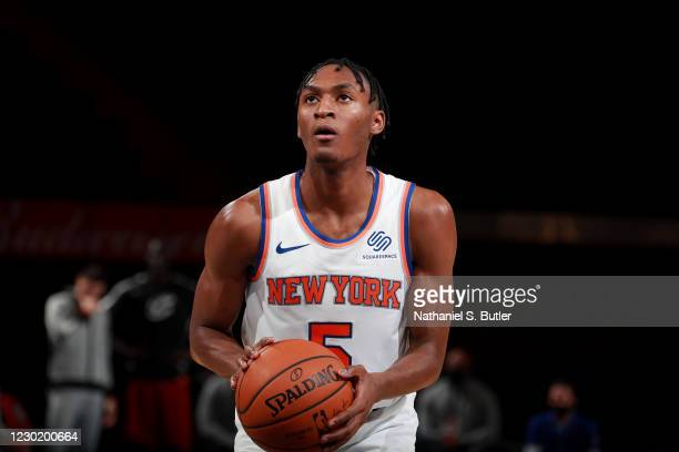 Immanuel Quickley of the New York Knicks shoots a free throw against the Cleveland Cavaliers on December 18, 2020 at Madison Square Garden in New...
