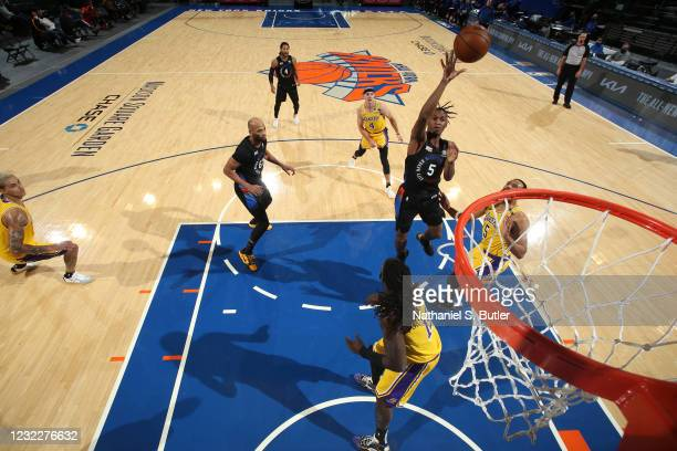 Immanuel Quickley of the New York Knicks shoots the ball during the game against the Los Angeles Lakers on April 12, 2021 at Madison Square Garden in...