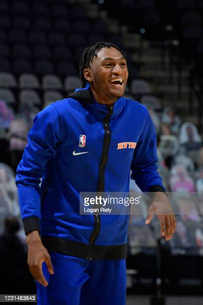 Immanuel Quickley of the New York Knicks smiles before the game against the San Antonio Spurs on March 2, 2021 at the AT&T Center in San Antonio,...