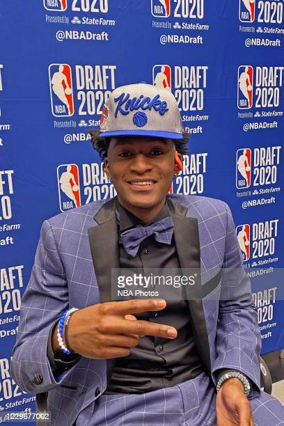Immanuel Quickley poses for a photo with his NBA Draft hat after being drafted by the New York Knicks during the 2020 NBA Draft on November 18, 2020....