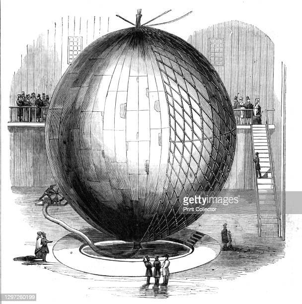 Immense Copper Balloon at Paris, 1844. 'Electrical and magnetic phenomena' containing hydrogen gas, built by M. Marey-Monge, for studying atmospheric...