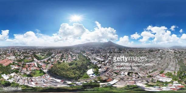 immersive panorama of san salvador capital, el salvador - san salvador stock pictures, royalty-free photos & images