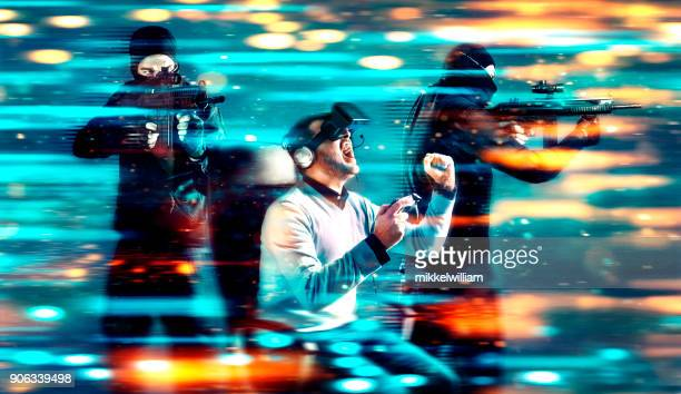 immersive war game in virtual reality with futuristic 3d-glasses - hud graphical user interface stock photos and pictures