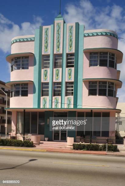 Immeuble art déco de Miami Beach, en Floride, Etats-Unis.