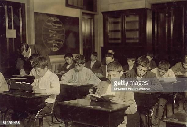 Immigrant Boys at Night School, Boston, Massachusetts, USA, circa 1909.