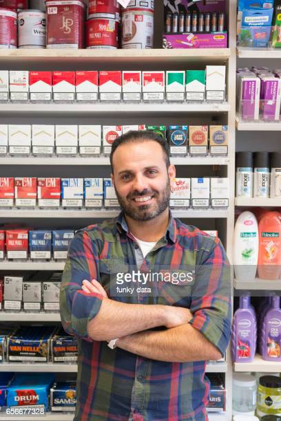 Immigrant kiosk owner in Europe