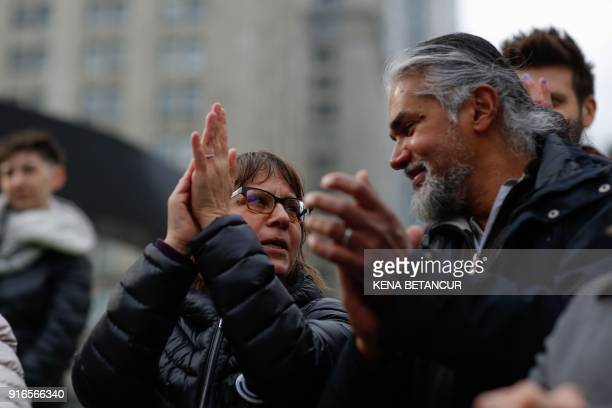 Immigrant rights activist Ravi Ragbir and his wife Amy Gottlieb attend a Rally a day after he granted temporary stay of deportation in Foley Square...