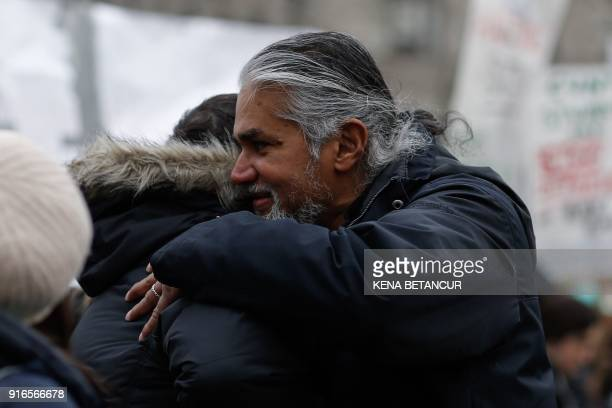 Immigrant rights activist Ravi Ragbir attends a Rally a day after he granted temporary stay of deportation in Foley Square on February 10 2018 in New...