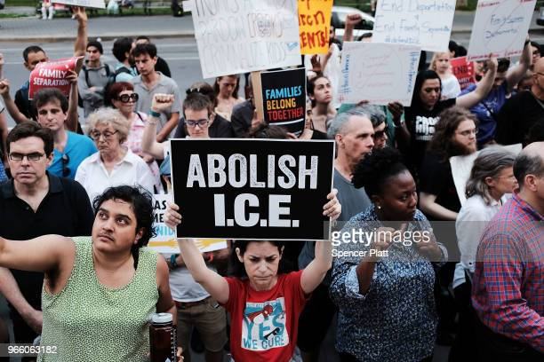 Immigrant rights advocates and others participate in rally and and demonstration at the Federal Building in lower Manhattan against the Trump...