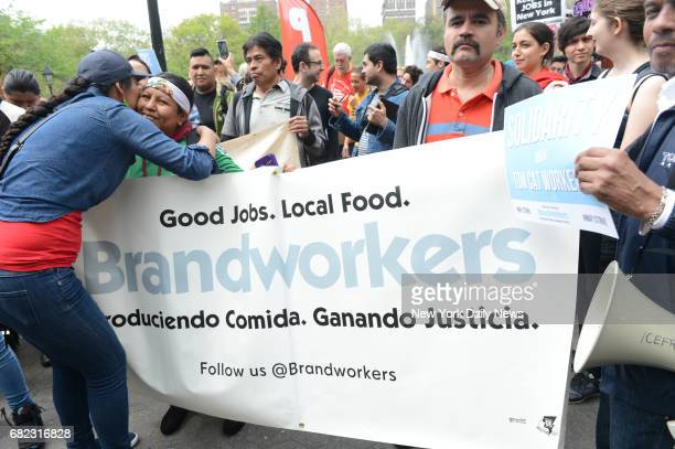 Immigrant worker justice protests on May Day in Washington Square Park on Monday May 1 2017
