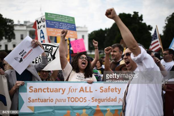 Immigrants and supporters demonstrate during a rally in support of the Deferred Action for Childhood Arrivals in front of the White House on...