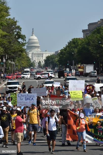 Immigrants and supporters demonstrate during a rally in support of the Deferred Action for Childhood Arrivals program Hotel on September 5 2017 in...