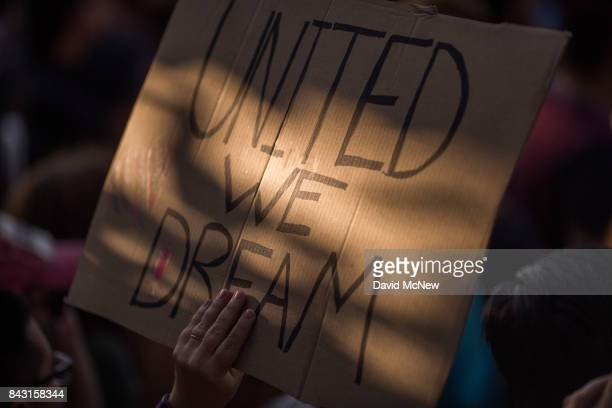 Immigrants and supporters march to oppose the President Trump order end to DACA on September 5 2017 in Los Angeles United States The Obamaera...