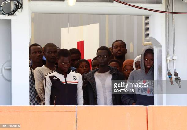 Immigrants are disembarked in Salerno from rescue ship Siem Pilot after being saved in Mediterranean sea on May 26 2016