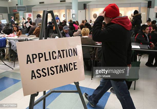Immigrants arrive for a Citizenship Application Assistance Day event on March 23 2013 in New York City More than 150 legal immigrants all with green...