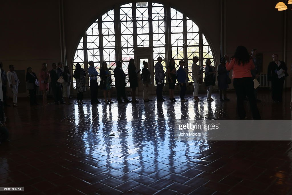 Immigrants arrive to Ellis Island for a naturalization ceremony on September 16, 2016 in New York City. The ceremony marked U.S. Constitution and Citizenship Day, which is September 17. According to U.S. Citizenship and Immigration Services (USCIS), some 38,000 people nationwide are becoming American citizens in 240 ceremonies nationwide this week, the most of any period in 2016.