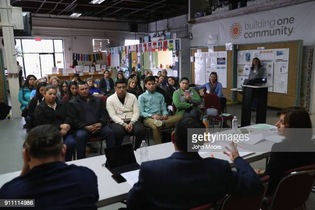 Immigrants attend a DACA and TPS workshop on January 27, 2018 in Stamford, Connecticut. The event, held at Building One Community, an immigrant...