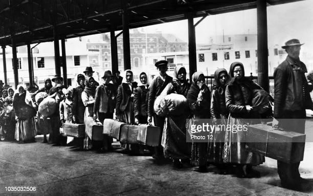 Immigrants on Ellis Island reception centre, New York City, 1902.