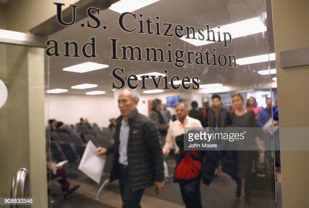Immigrants prepare to become American citizens at a naturalization service on January 22 2018 in Newark New Jersey Although much of the federal...