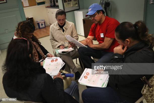 Immigrants take part in a workshop called 'Me Preparo' at a community immigrant center on March 25 2017 in Stamford Connecticut The immigrant...