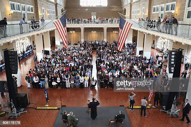 Immigrants take the oath of citizenship to the United States in the Great Hall of Ellis Island on September 16 2016 in New York City Robert Katzmann...
