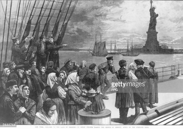 Illustration of a group of immigrants on the steerage deck of a steamship viewing the Statue of Liberty as they arrive in New York Harbor circa 1887