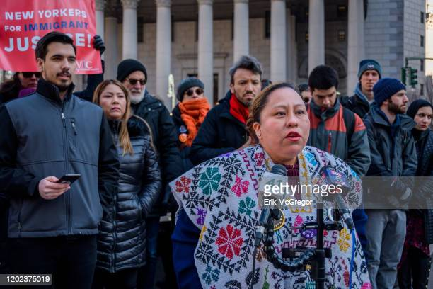Immigration activist Fabiola MendietaCuapio Immigration advocates community organizations elected officials and Friends gathered at Foley Square for...